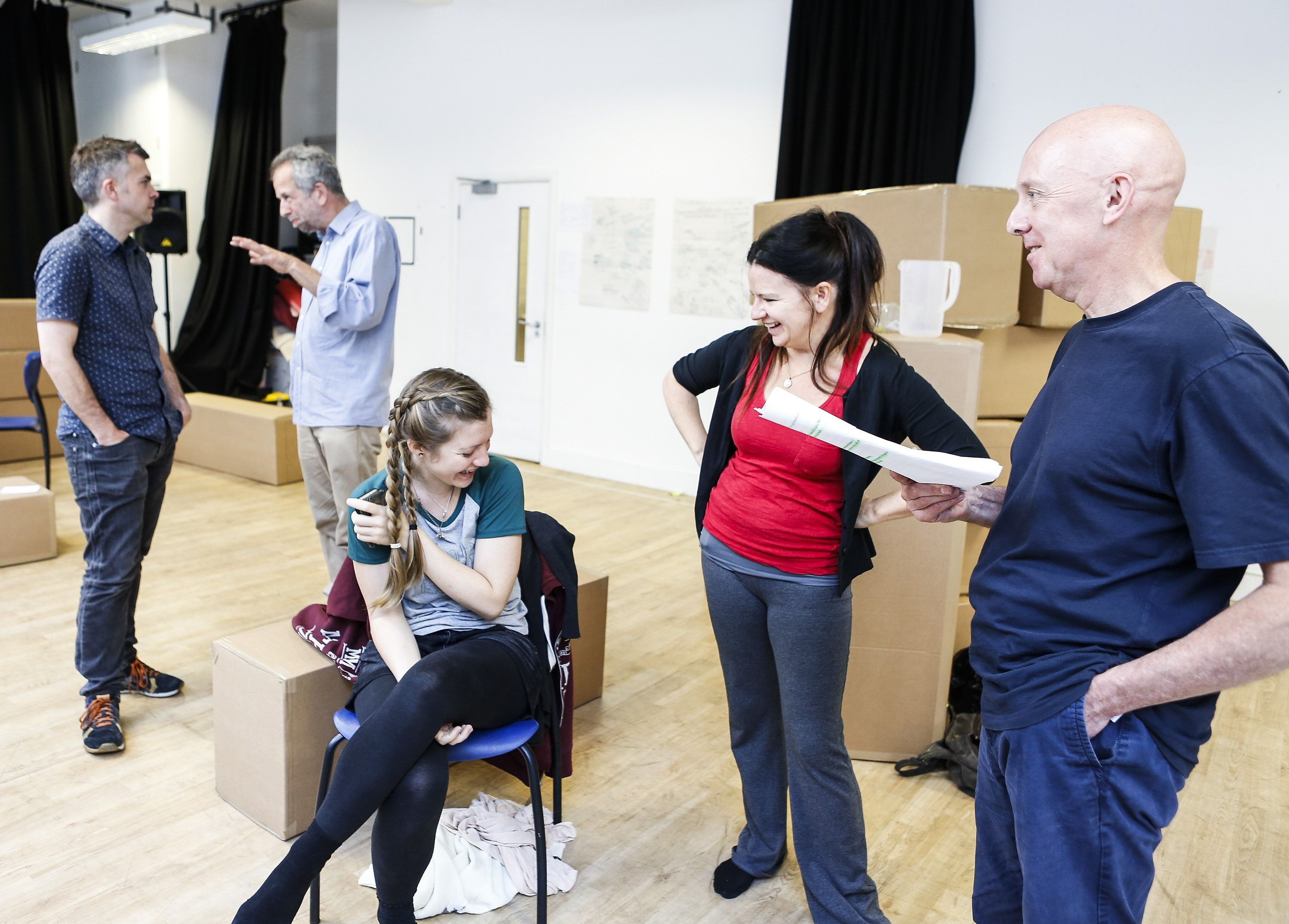 Adrian Jackson, Hayley Wareham, Cathy Owen and Alex Jones rehearse for Cardboard Citizens' UK Tour of Cathy_Pamela Raith Photography
