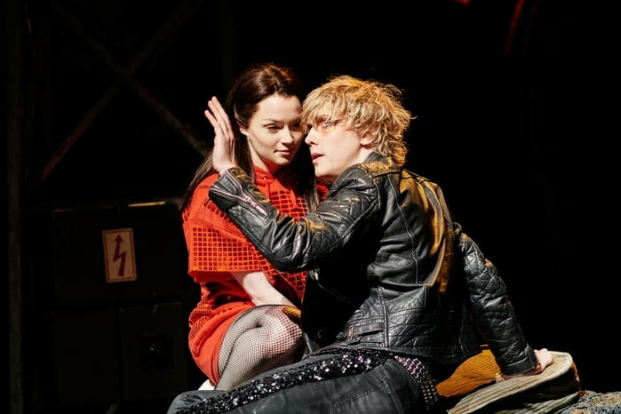 Christina Bennington as Raven & Andrew Polec as Strat in BAT OUT OF HELL - THE MUSICAL, credit Specular (2)