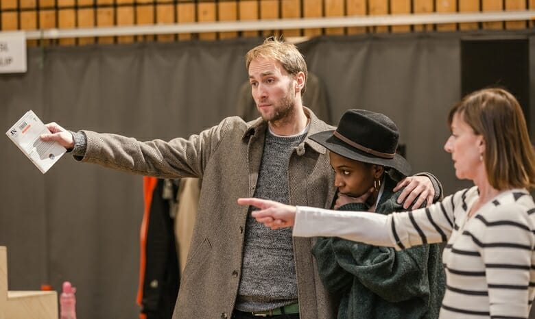 Oliver Chris, Tamara Lawrance & Doon Mackichan in rehearsals for Twelfth Night. Photo by Marc Brenner