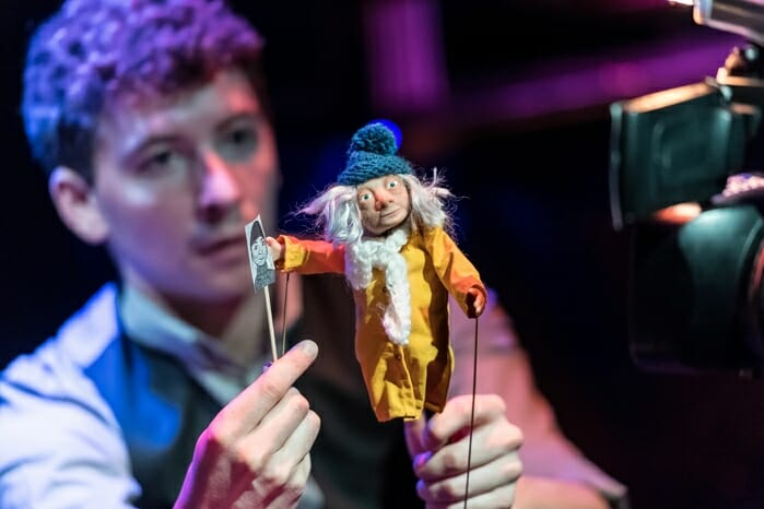 Sam Clark (Puppeteer and Devisor) and Hilda, The Missing Light at The Old Vic. Photo by Manuel Harlan (2)
