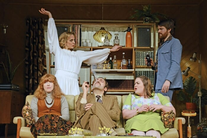 The cast of Abigail's Party, Theatre Royal Bath Productions, 2017 ┬® Nobby Clark