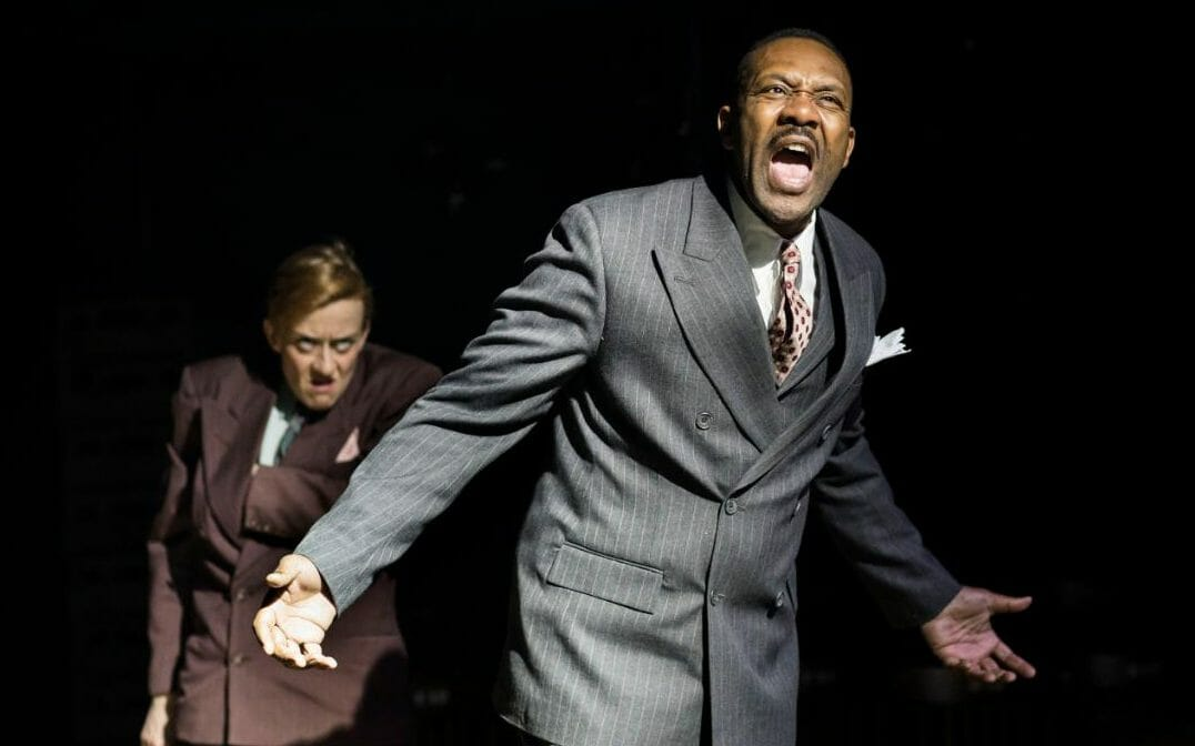 Lucy Ellinson and Lenny Henry in The Resistible Rise of Arturo Ui at the Donmar Warehouse CREDIT HELEN MAYBANKS