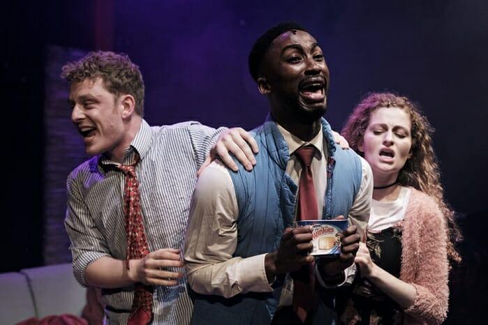 Chris Jenkins, Jordan Shaw & Gillian Saker (l-r) in tick, tick… BOOM! at Park Theatre. Photo by Claire Bilyard 4371