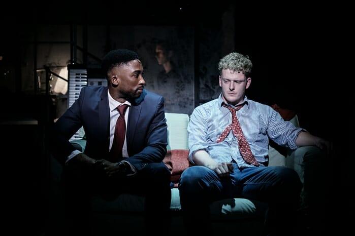 Jordan Shaw & Chris Jenkins (l-r) in tick, tick… BOOM! at Park Theatre. Photo by Claire Bilyard 9584