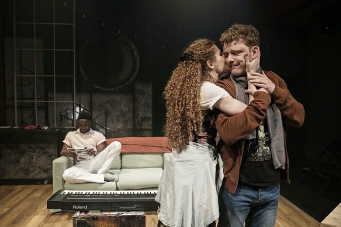 Jordan Shaw, Gillian Saker & Chris Jenkins (l-r) in tick, tick… BOOM! at Park Theatre. Photo by Claire Bilyard 4214