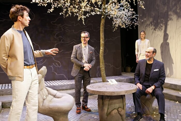 (l-r) Daniel Weyman, Jonathan Cullen, Naomi Frederick and F. Murray Abraham in The Mentor at the Vaudeville Theatre, 24 June to 2 September. Credit Simon Annand