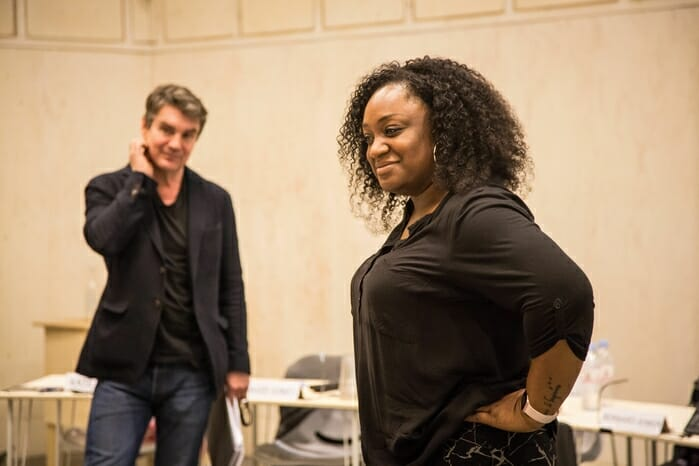 Alexander Hanson (Bernard Jenkin) and Sandra Marvin (Camila Batmanghelidjh) in rehearsals for COMMITTEE... at the Donmar Warehouse. Photo by Jack Sain