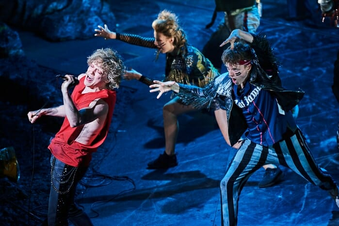 Andrew Polec as Strat (left) in BAT OUT OF HELL credit Specular
