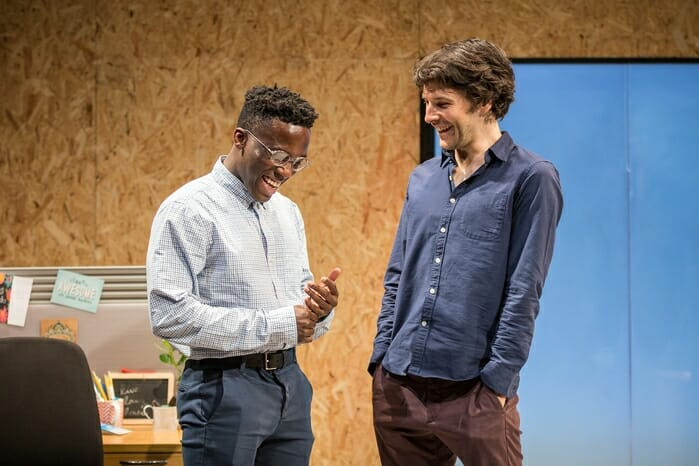 Bayo Gbadamosi and Colin Morgan in Gloria at Hampstead Theatre, photo by Marc Brenner