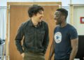 Colin Morgan and Bayo Gbadamosi in Gloria at Hampstead Theatre, photo by Marc Brenner