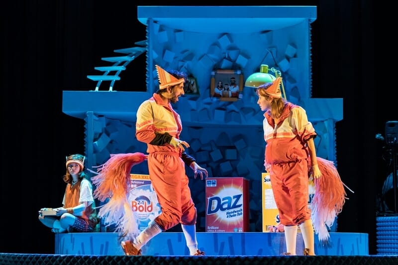 Fantastic Mr Fox at Nuffield Southampton Theatres. Jade Croot (Kit), Greg Barnett (Mr Fox) and Lillie Flynn (Mrs Fox). Photo credit Manuel Harlan (3)