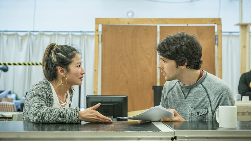 Kae Alexander and Colin Morgan in Gloria at Hampstead Theatre, photo by Marc Brenner