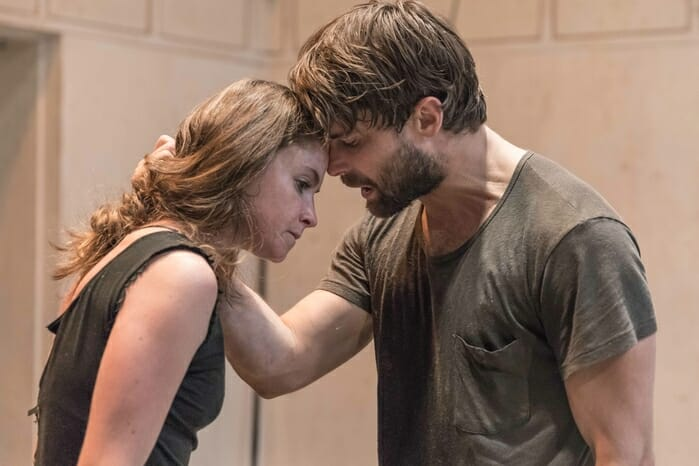Judith Roddy (Young Woman) and Christian Cooke (Pony William) in rehearsal for Knives in Hens directed by Yaël Farber. Photo by Marc Brenner 682