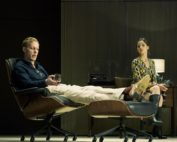 Laurence Fox (as Henry) and Flora Spencer-Longhurst (as Annie). Dress Rehearsal of The Real Thing by Tom Stoppard (a co-production by Cambridge Arts Theatre with Theatre Royal Bath and Rose Theatre, Kingston). Cambridge Arts Theatre. Cambridge, Cambridgeshire, UK. September 06, 2017. Photo: Edmond Terakopian