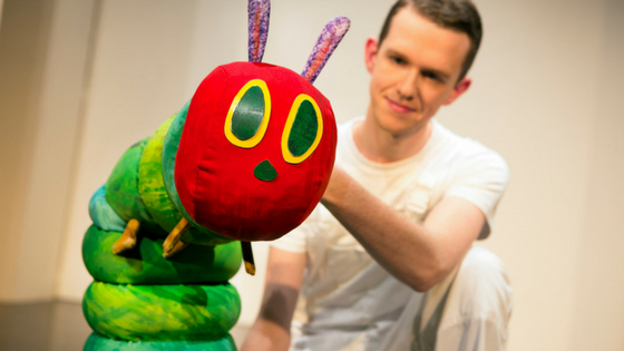 The Very Hungry Caterpillar (Adam Ryan) in The Very Hungry Caterpillar Show. Photo Credit Pamela Raith Photography