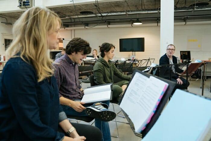 Annette McLaughlin, Joe Idris-Roberts, Audrey Brisson in rehearsals. Photo Manuel Harlan