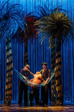 The Lorax - Laura Caldow, Ben Thompson and David Ricardo-Pearce (Puppeteers) in Dr. Seuss's The Lorax at The Old Vic. Photos by Manuel 2