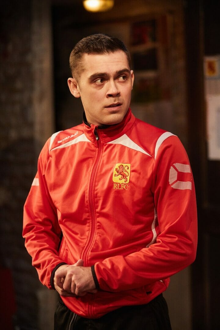 The Red Lion by Patrick Marber. Live Theatre and Trish Wadley Presents at Trafalgar Studios Director Max Roberts Starring Steven Tompkinson John Bowler Dean Bone