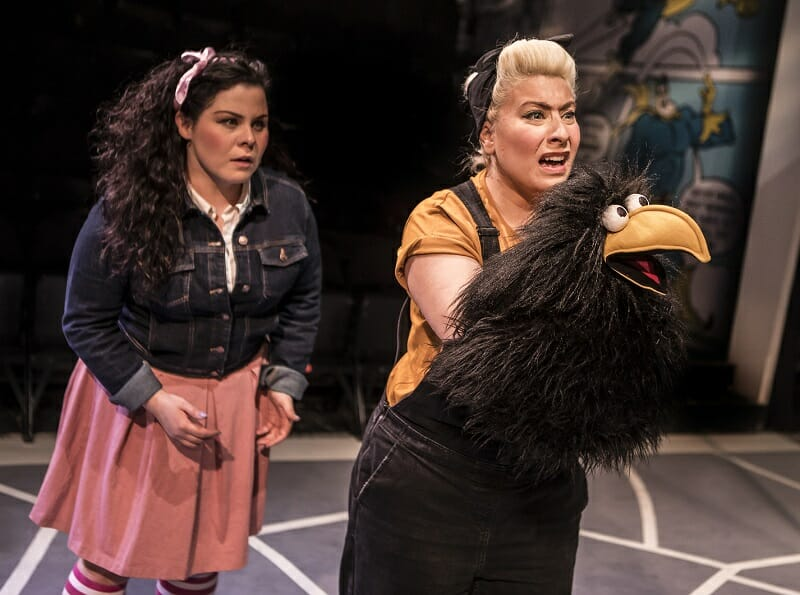 Bananaman The Musical 8 Emma Ralston (Fiona Mullins) Jodie Jacobs (Crow) Photo by Pamela Raith