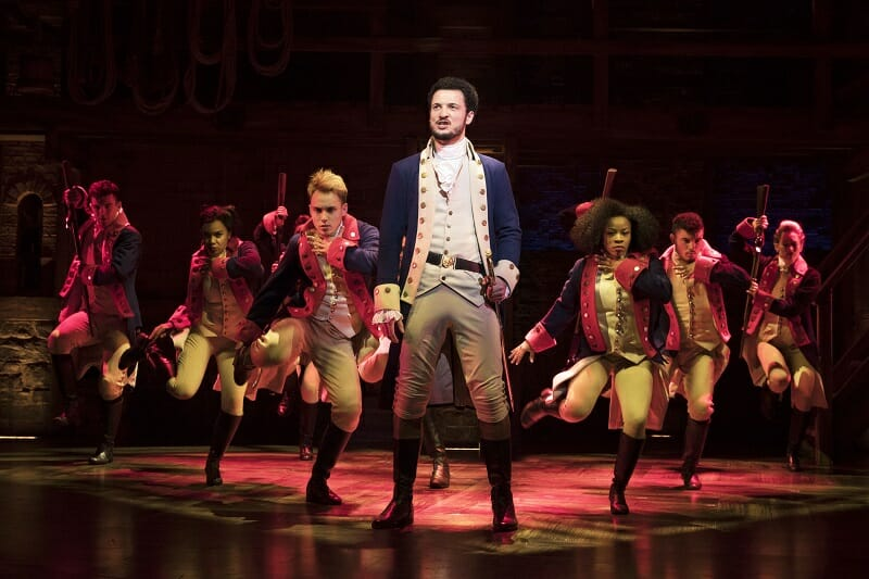 Jamael Westman with West End cast of Hamilton - Photo credit Matthew Murphy