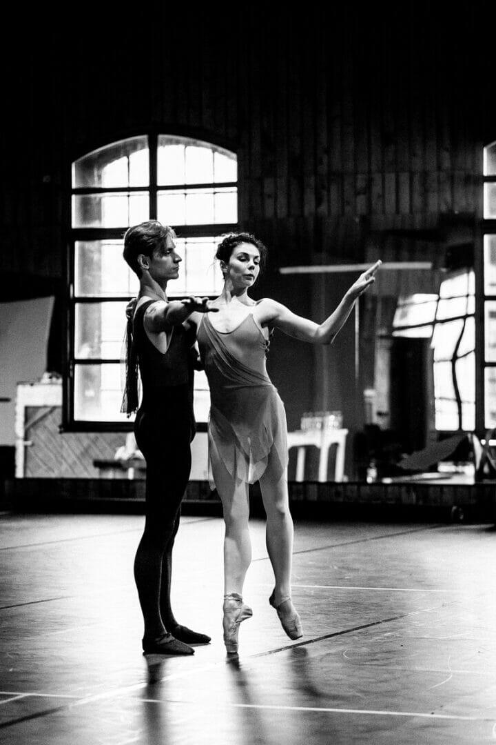 Sergei Polunin and Natalia Osipova in rehearsals for Satori, credit Srđan Srđenović