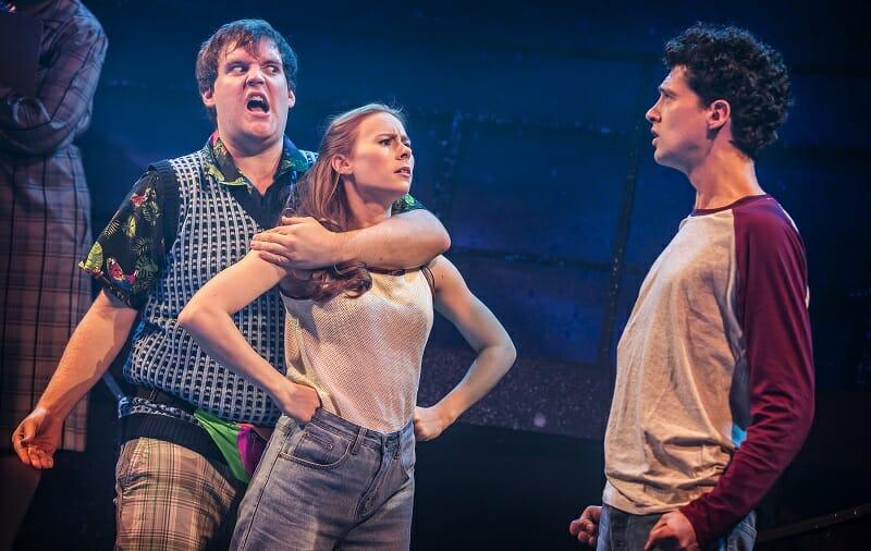 EUGENIUS! Dan Buckley 'Feris', Laura Baldwin 'Janey' and Liam Forde 'Eugene'. Photo Pamela Raith
