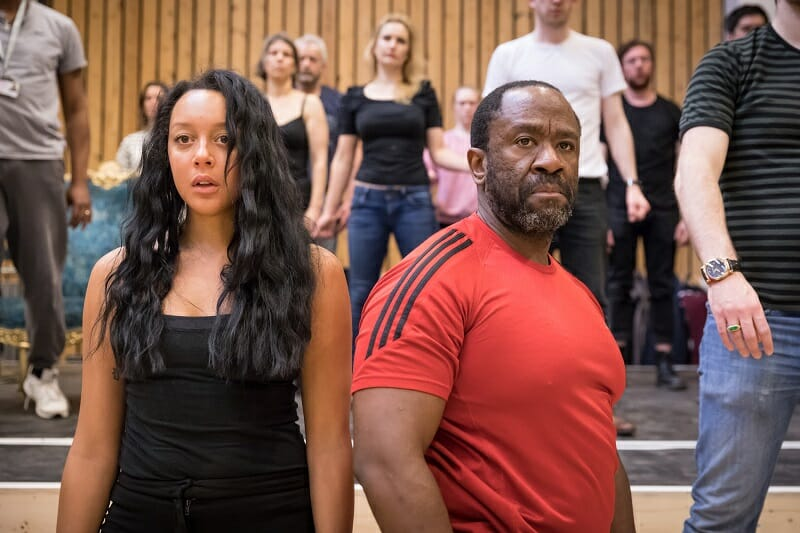 Adelle Leonce as Constanze Weber and Lucian Msamati as Antonio Salieri in rehearsal for Amadeus at the National Theatre (c) Marc Brenner