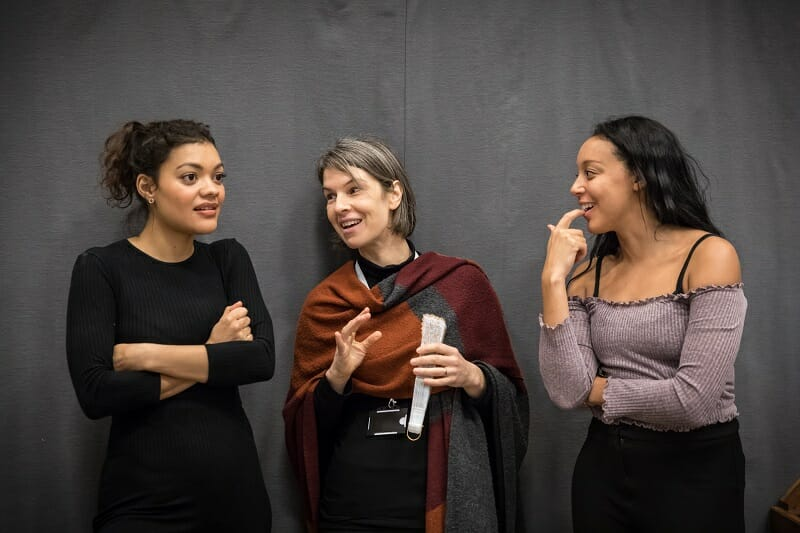 Carla Harrison Hodge, Wendy Dawn Thompson and Adele Leonce in rehearsals for Amadeus at the National Theatre (c) Marc Brenner