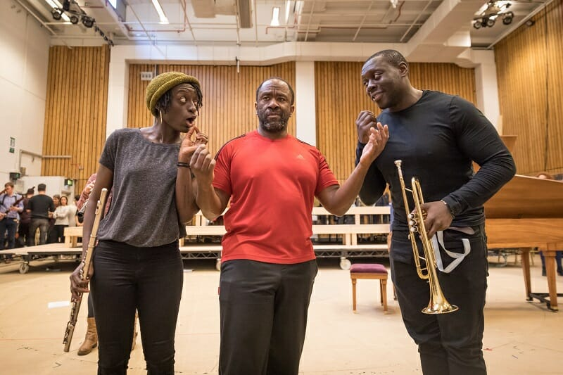 Sarah Amankwah, Lucian Msamati and Ekow Quartey in rehearsals for Amadeus at the National Theatre (c) Marc Brenner