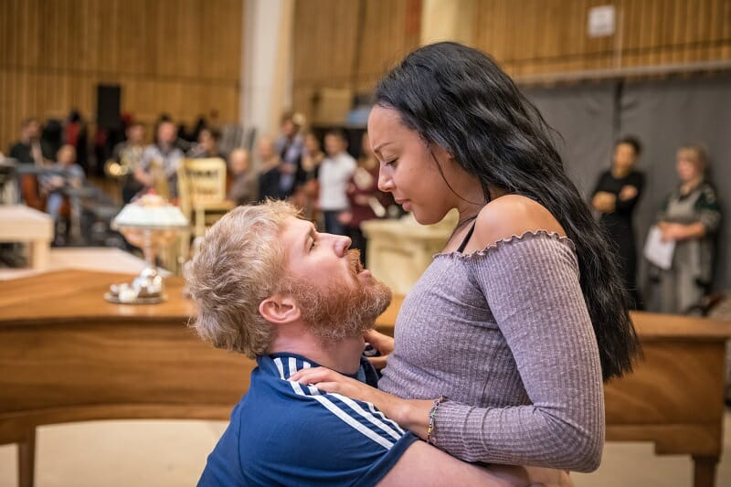 Adam Gillen as Wolfgang Mozart and Adele Leonce as Constanze Weber in rehearsals for Amadeus at the National Theatre (c) Marc Brenner