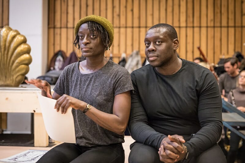 Sarah Amankwah and Ekow Quartey in rehearsals for Amadeus at the National Theatre (c) Marc Brenner