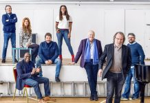 Full Cast Announced for Chess L-R Murray Head, Cassidy Janson, Phillip Browne, Michael Ball, Alexandra Burke, Sir Tim Rice, Benny Andersson and director Laurence Connor