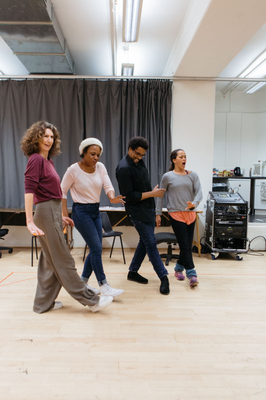 Cast in rehearsal for Nine Night at the National Theatre (c) Helen Murray-162-2