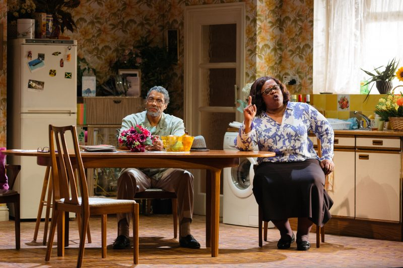 Cecilia Noble as Aunt Maggie and Ricky Fearon as Uncle Vince in Nine Night at the National Theatre (c) Helen Murray-1137