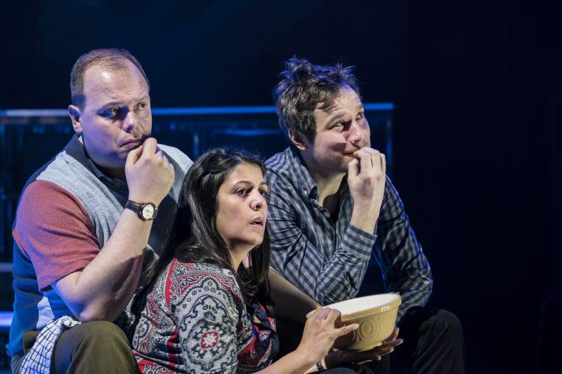 Gavin Spokes (Charles Ingram), Stephanie Street (Diana Ingram), Henry Pettigrew (Adrian Pollock). image by Johan Persson