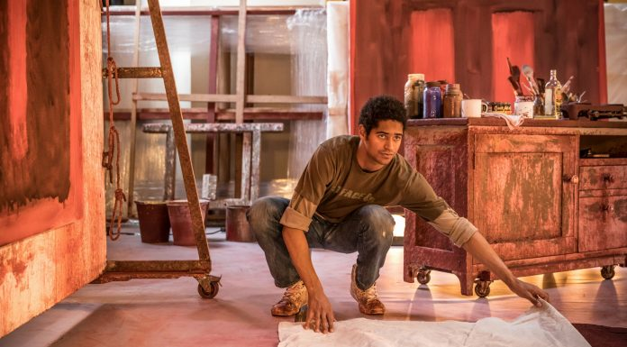 John Logan's Red in rehearsals for Michael Grandage Company. Alfred Enoch (Ken) Photo credit Marc Brenner