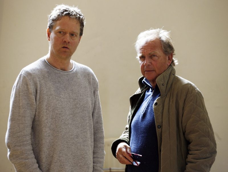 Writer Torben Betts & Patrick Ryecart in rehearsals for MONOGAMY, credit Simon Annand