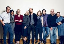 l-r Adam James, Thusitha Jayasundera, Nina Raine, Claudie Blakley, Stephen Campbell Moore, Clare Foster, Lee Ingleby, Roger Michell and Heather Craney - Consent - Photo credit Matt Crockett (1)