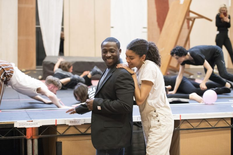 Eric Kofi Abrefa (Jean) and Thalissa Teixeira (Kristina) in rehearsals for Julie at the National Theatre (c) Richard Hubert Smith