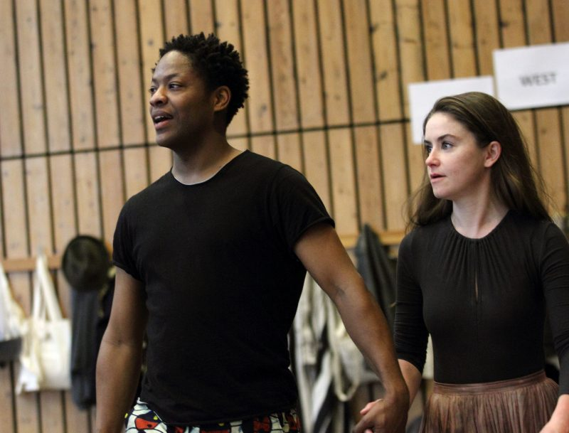 Adetomiwa-Edun-and-Judith-Roddy-in-rehearsals-for-Translations.-Image-by-Catherine-Ashmore