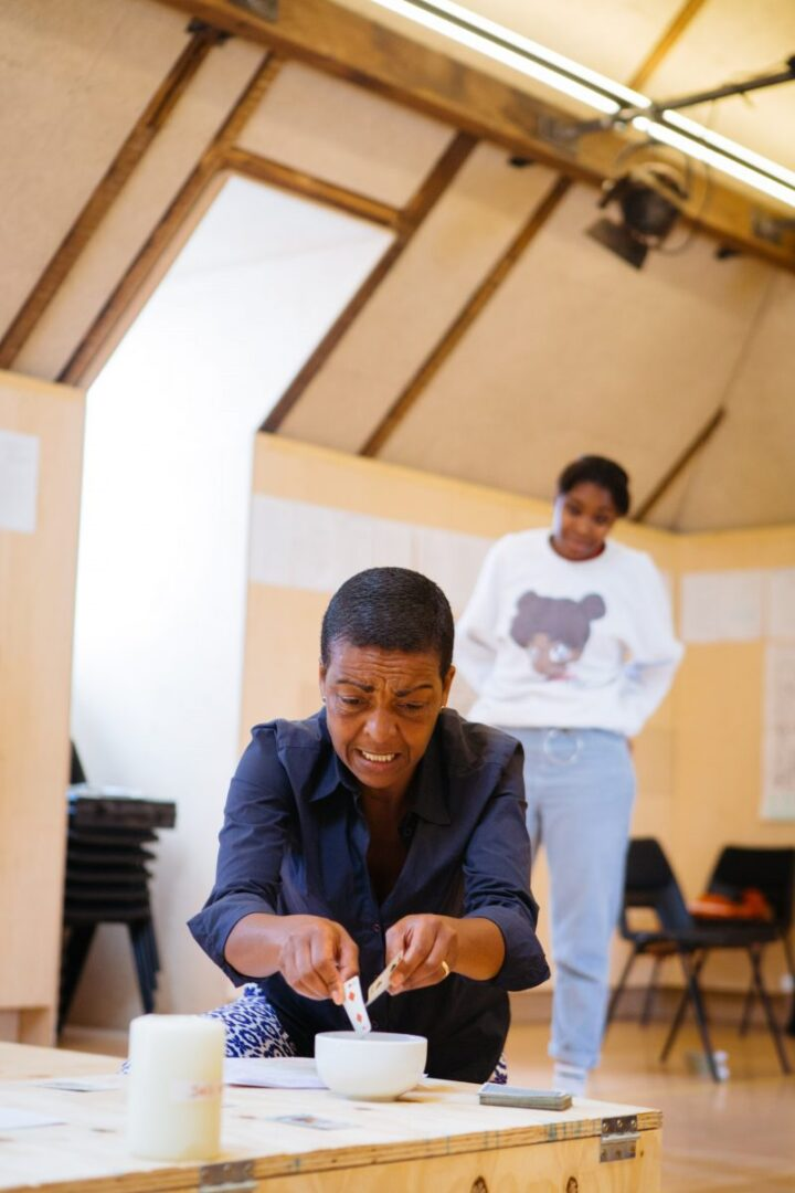 Adjoa Andoh and Seraphina Beh in rehearsals for Leave Taking at the Bush Theatre © Helen Murray