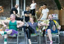 Front LtoR Ben Redfern, Caroline O'Connor & Ross Dawes in rehearsals for THE RINK, credit Darren Bell