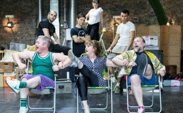 Front LtoR Ben Redfern, Caroline O'Connor & Ross Dawes in rehearsals for THE RINK, credit Darren Bell