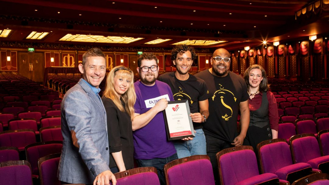 Graham Bradbury(General Manager) Rose Smith(Access Host) Chris Pike(Autism Access Specialist) Matthew Croke(Aladdin) Trevor Dion Nicholas(Genie) Sarah Beebe(Box Office Manager) Photo by Helen Maybanks