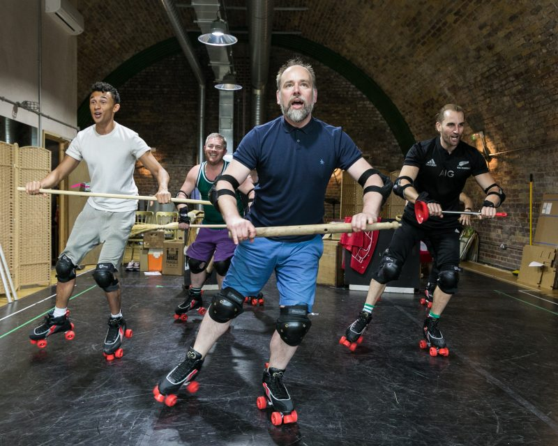 LtoR Elander Moore, Ben Redfern, Ross Dawes & Jason Winter in rehearsals for THE RINK, credit Darren Bell