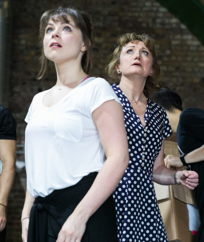 LtoR Gemma Sutton & Caroline O'Connor in rehearsals for THE RINK, credit Darren Bell