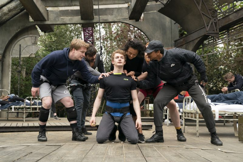 Sam Angell (Peter Pan) and the cast in rehearsals for Peter Pan at Regent's P