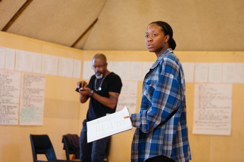 Wil Johnson and Nicholle Cherrie in rehearsals for Leave Taking at the Bush Theatre © Helen Murray