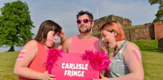 Amy Petricca-Lear, Seb Coombe and Grace Ryder get excited about the Carlisle Fringe programme (Photo credit_ Stuart Walker)