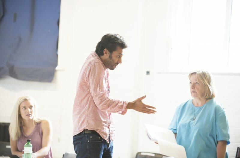 Alexandra Guelff, Robert Mountford & Veronica Roberts in rehearsals for THE HABIT OF ART (c) James Findlay